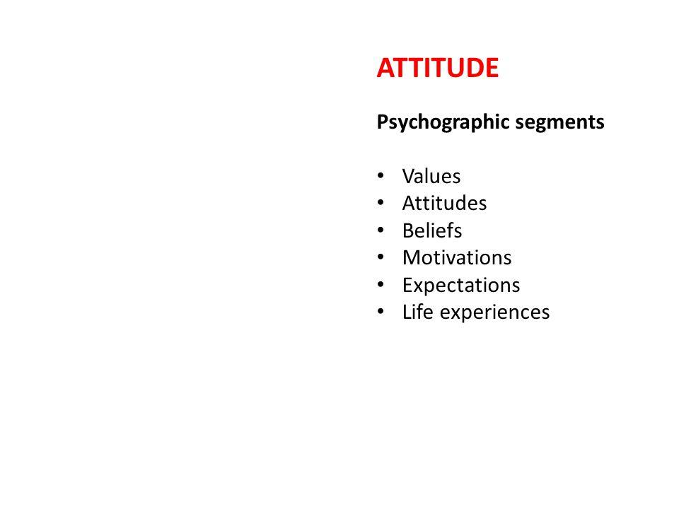 ATTITUDE Psychographic segments Values Attitudes Beliefs Motivations Expectations Life experiences