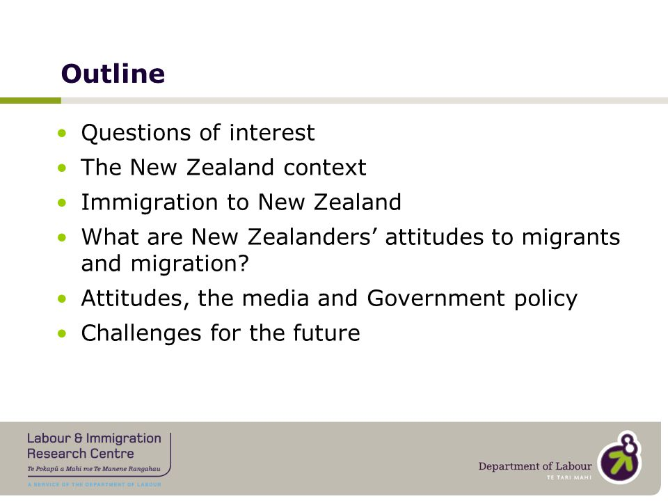 Questions of interest What are New Zealanders' attitudes to migrants and migration.