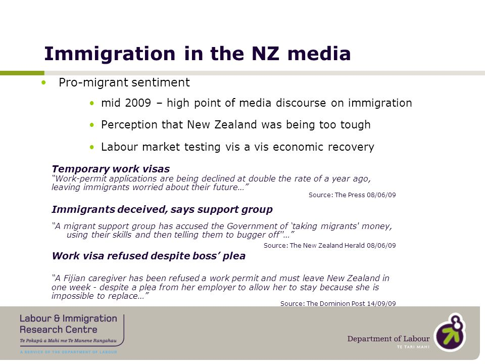 Contribution to the economy New Settlers Programme Survey ISMP Community Survey QuestionYear% Agree Attracting new migrants … is vital if New Zealand is to prosper economically 200351% 200648% QuestionYear% Agree Migrants make an important contribution to New Zealand's economy 200970% 201076%