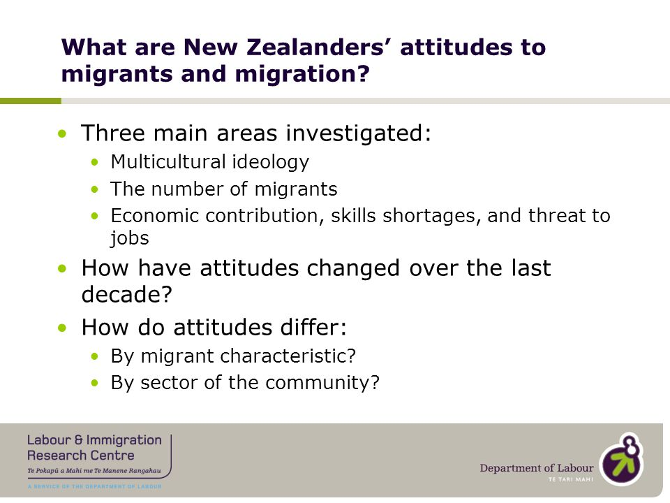 Community Attitudes – NZ Data Sources 2003 and 2006 New Settlers Programme Survey (Gendall, Spoonley and Trlin, Massey University) 2004/5 AIIM Survey (Ward and Masgoret, Victoria University of Wellington) 2009 and 2010 Immigration Survey Monitoring Programme Community Survey (Migration Research)