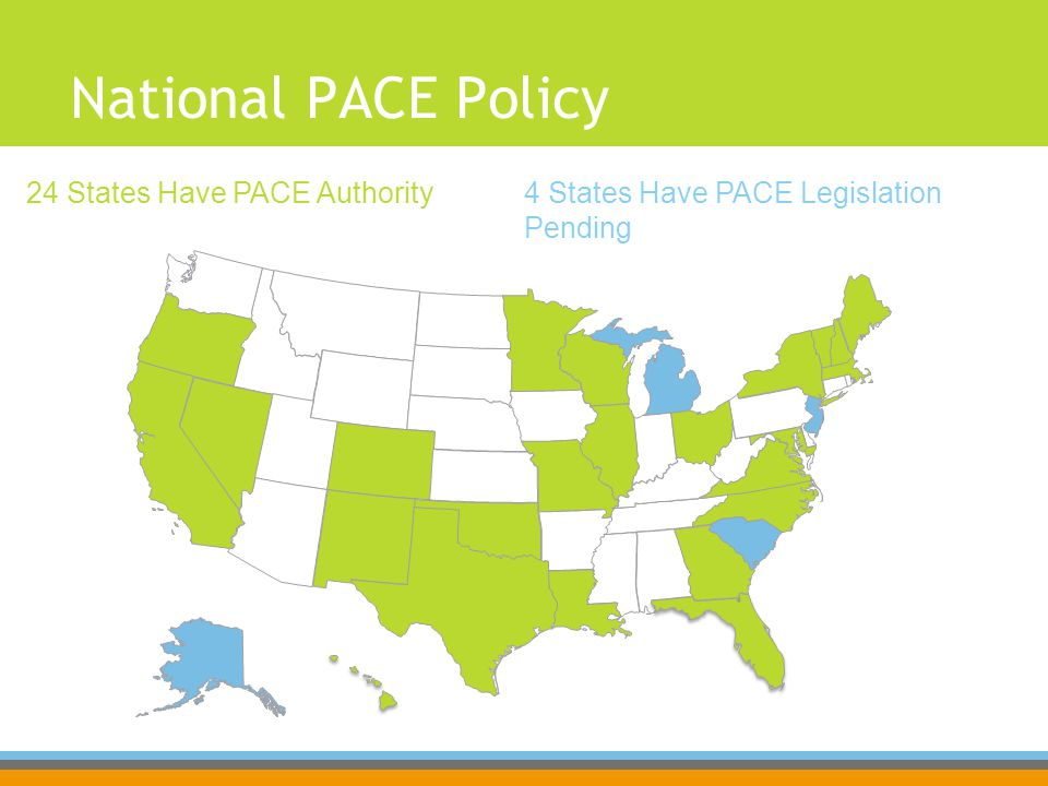 National PACE Policy 4 States Have PACE Legislation Pending 24 States Have PACE Authority