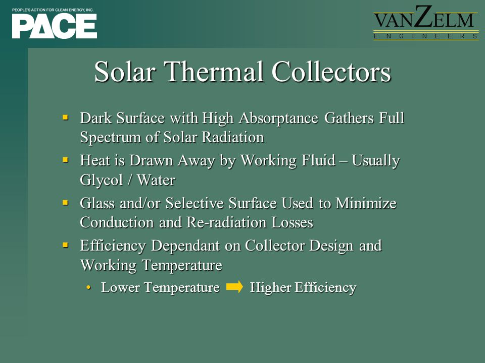 VAN Z ELM E N G I N E E R S Solar Thermal Collectors  Dark Surface with High Absorptance Gathers Full Spectrum of Solar Radiation  Heat is Drawn Awa