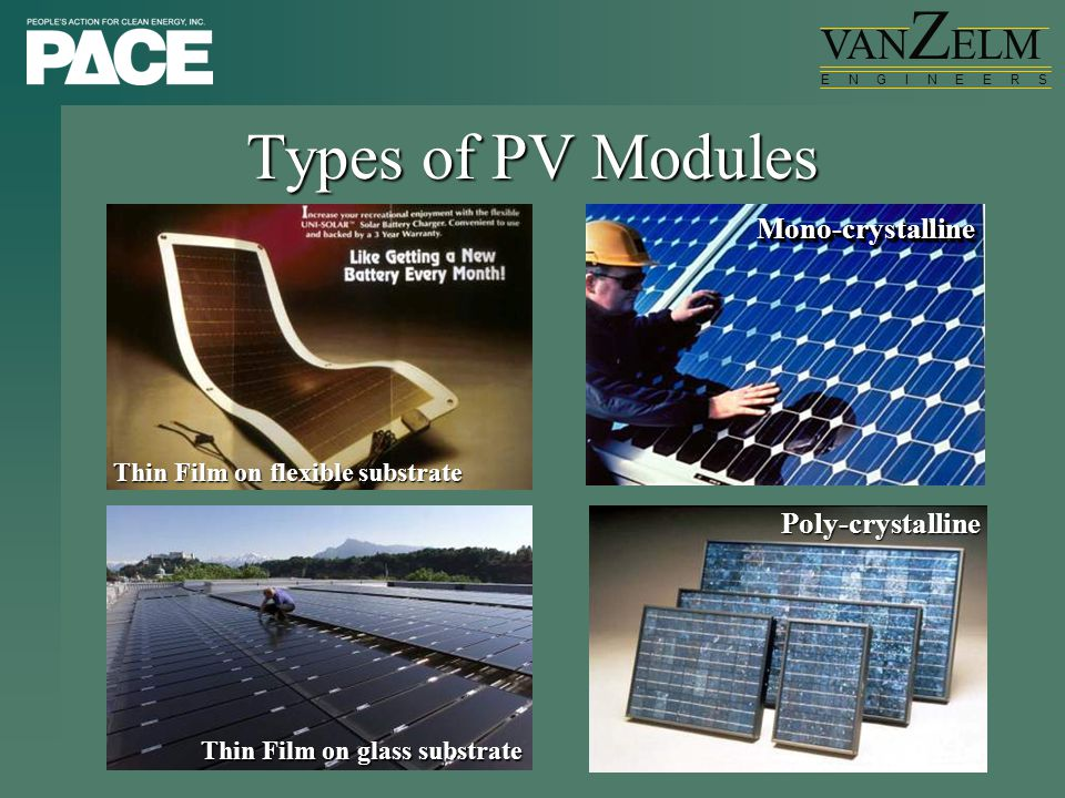 VAN Z ELM E N G I N E E R S Types of PV Modules Thin Film on flexible substrate Thin Film on glass substrate Mono-crystallineMono-crystalline Poly-cry