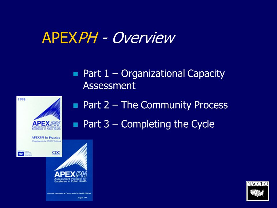 APEXPH - Benefits Assess organization and management of LHD Provide framework for working with community Link internal assessment with community's priority areas Establish the leadership role of the LHD
