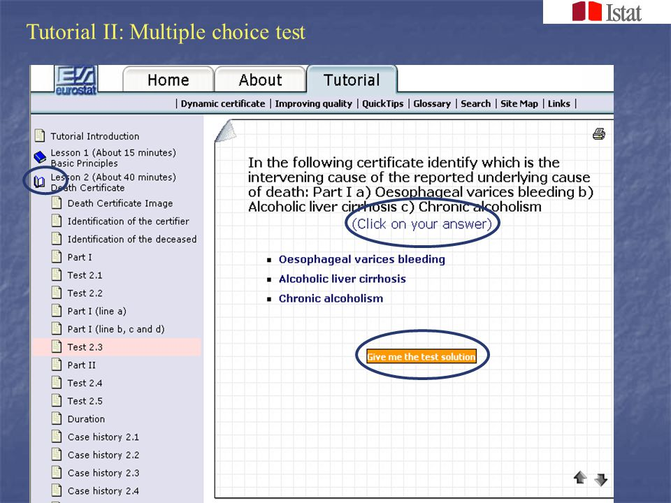 Tutorial III: Multiple choice test