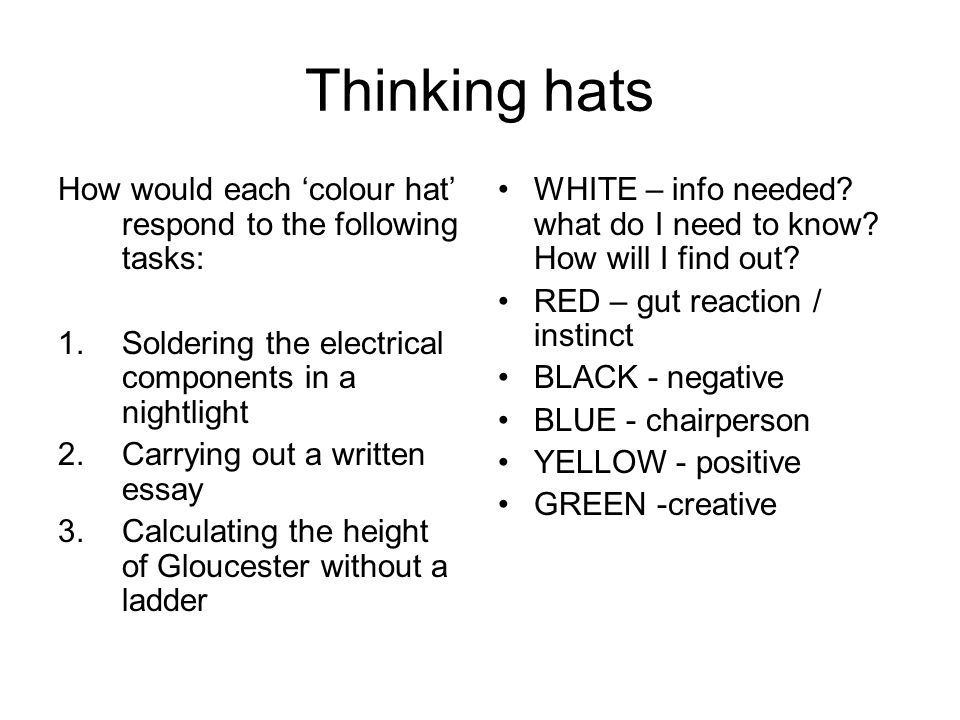 Thinking hats How would each 'colour hat' respond to the following tasks: 1.Soldering the electrical components in a nightlight 2.Carrying out a written essay 3.Calculating the height of Gloucester without a ladder WHITE – info needed.