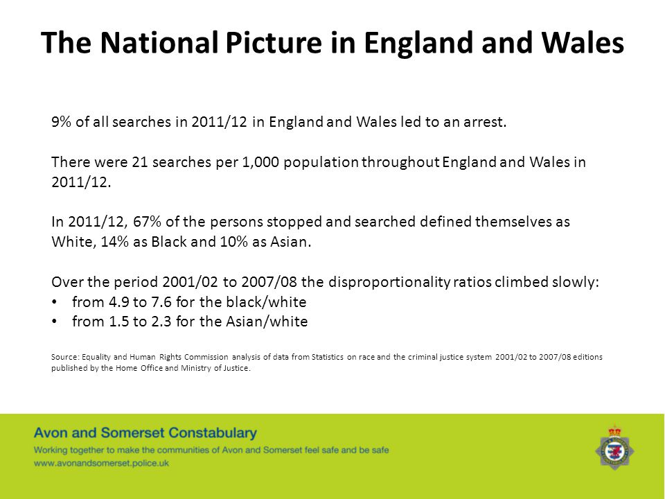The National Picture in England and Wales 9% of all searches in 2011/12 in England and Wales led to an arrest. There were 21 searches per 1,000 popula