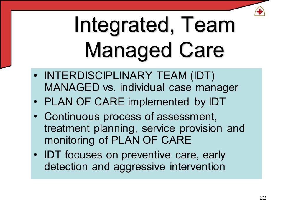 22 Integrated, Team Managed Care INTERDISCIPLINARY TEAM (IDT) MANAGED vs.