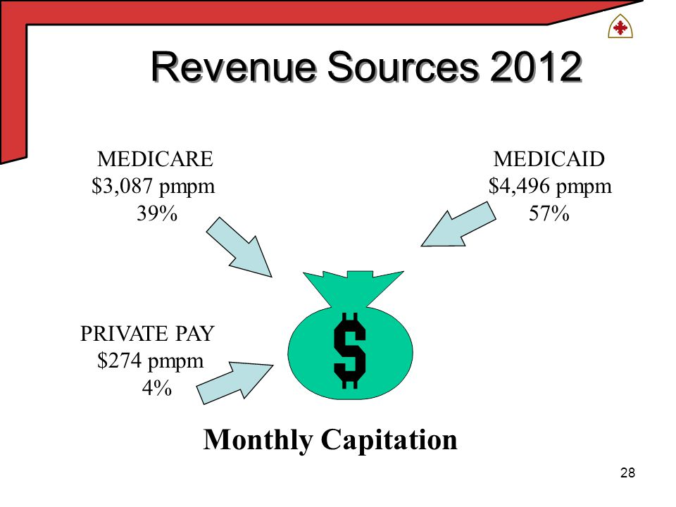 28 Revenue Sources 2012 MEDICARE $3,087 pmpm 39% MEDICAID $4,496 pmpm 57% Monthly Capitation PRIVATE PAY $274 pmpm 4%