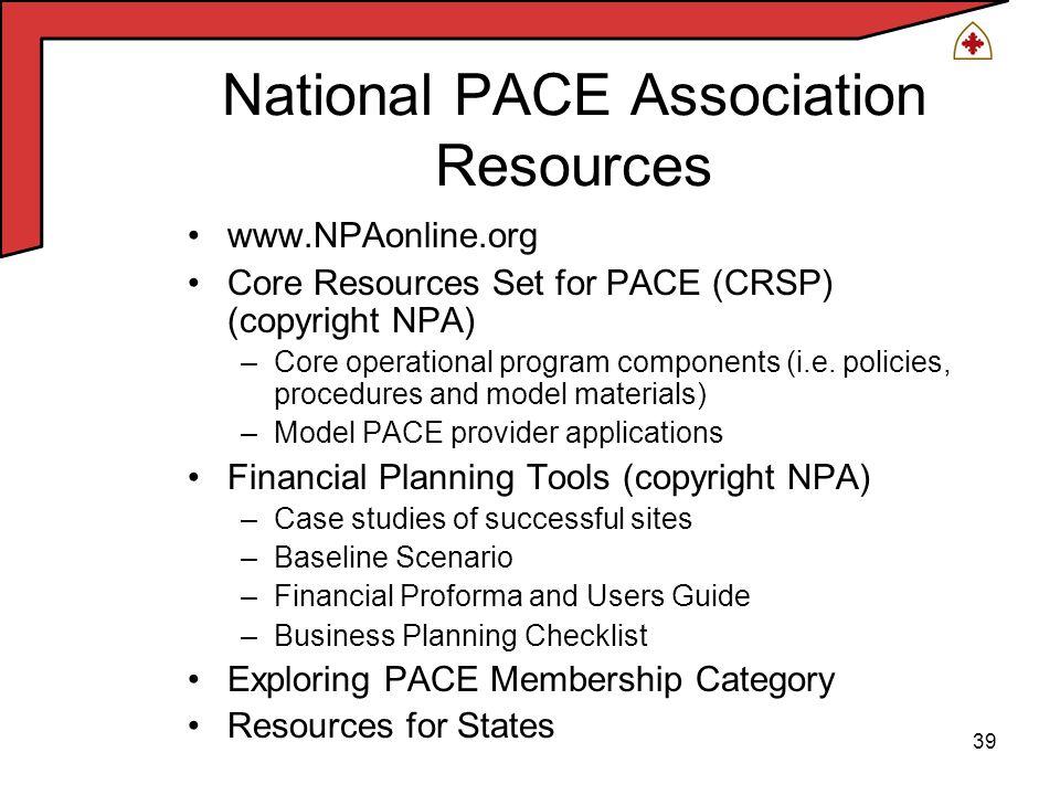 39 www.NPAonline.org Core Resources Set for PACE (CRSP) (copyright NPA) –Core operational program components (i.e.