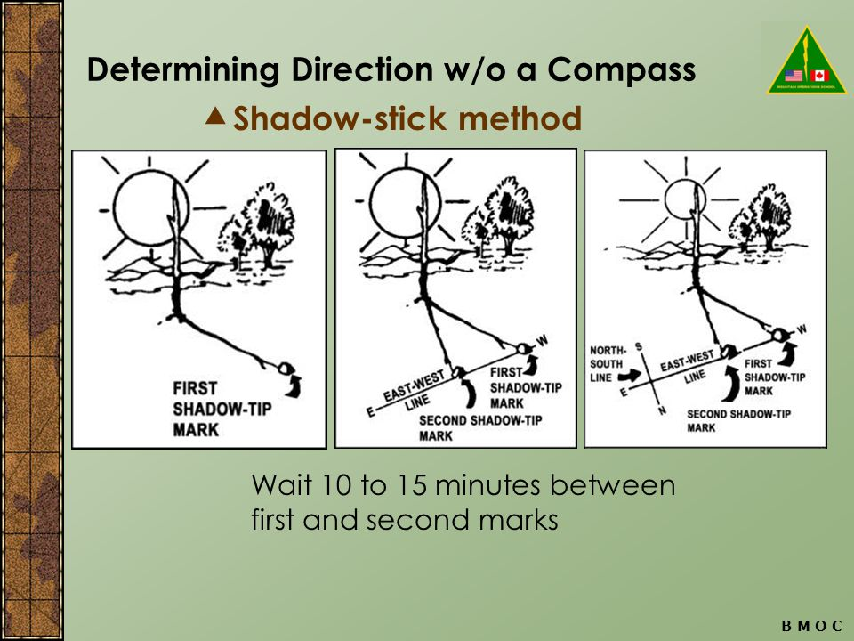 Determining Direction w/o a Compass B M O C  Shadow-stick method Wait 10 to 15 minutes between first and second marks