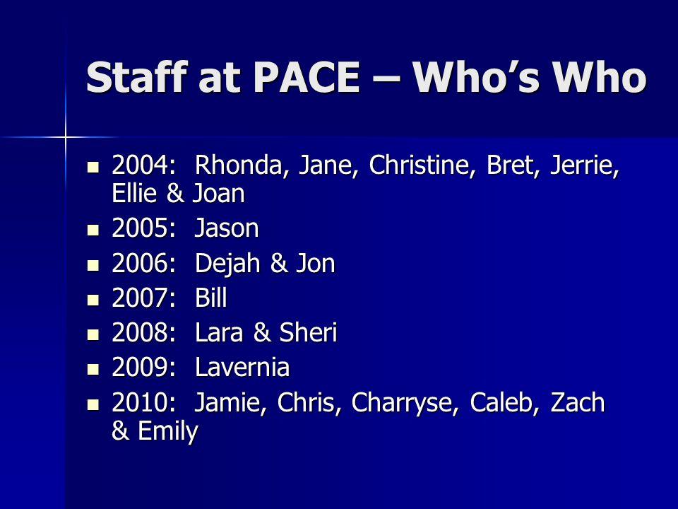 Staff at PACE – Who's Who 2004: Rhonda, Jane, Christine, Bret, Jerrie, Ellie & Joan 2004: Rhonda, Jane, Christine, Bret, Jerrie, Ellie & Joan 2005: Jason 2005: Jason 2006: Dejah & Jon 2006: Dejah & Jon 2007: Bill 2007: Bill 2008: Lara & Sheri 2008: Lara & Sheri 2009: Lavernia 2009: Lavernia 2010: Jamie, Chris, Charryse, Caleb, Zach & Emily 2010: Jamie, Chris, Charryse, Caleb, Zach & Emily
