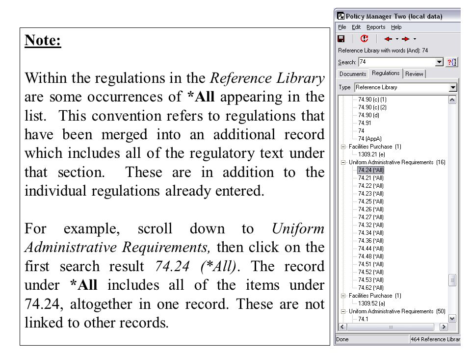 Note: Within the regulations in the Reference Library are some occurrences of *All appearing in the list.
