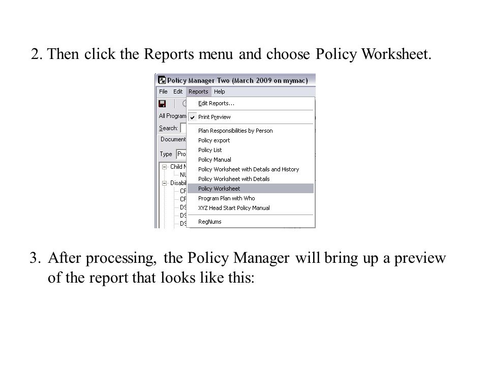 2. Then click the Reports menu and choose Policy Worksheet.