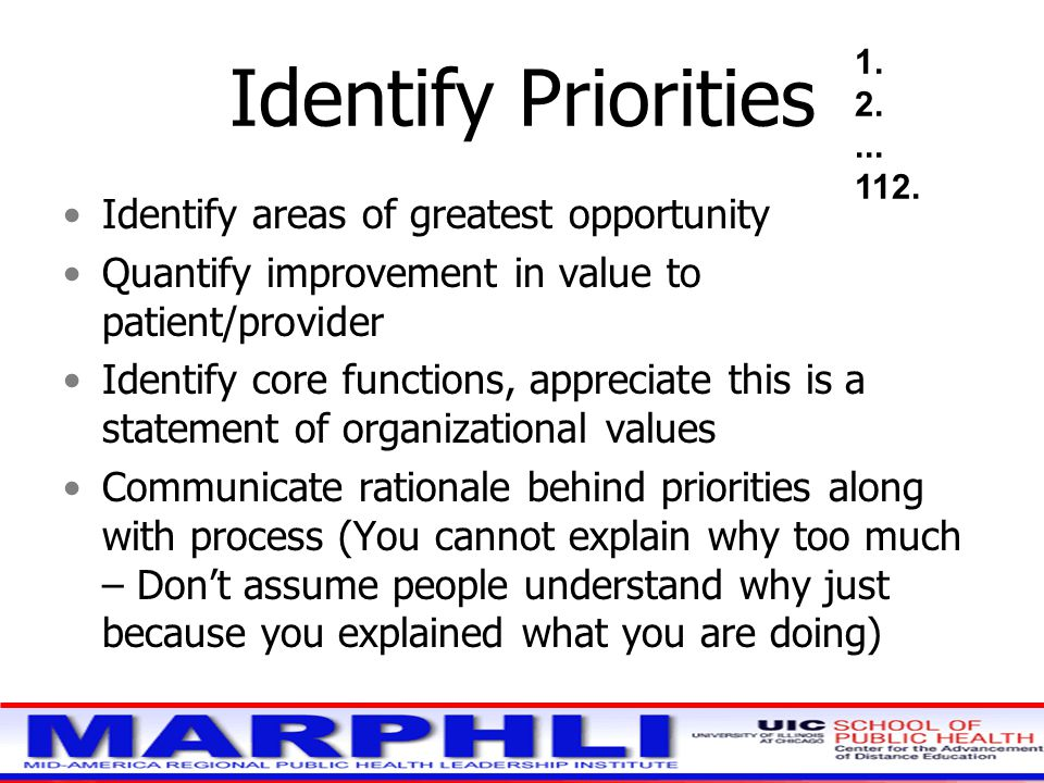 Identify Priorities Identify areas of greatest opportunity Quantify improvement in value to patient/provider Identify core functions, appreciate this is a statement of organizational values Communicate rationale behind priorities along with process (You cannot explain why too much – Don't assume people understand why just because you explained what you are doing) 1.