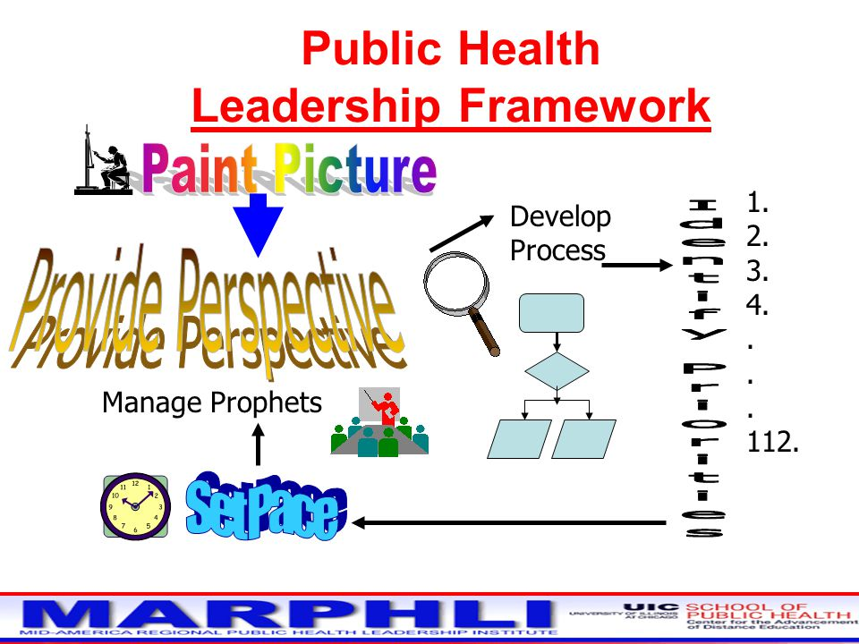 Public Health Leadership Framework Develop Process 1. 2. 3. 4.. 112. Manage Prophets