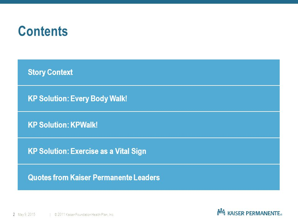 2| © 2011 Kaiser Foundation Health Plan, Inc.May 9, 2015 Contents Story Context KP Solution: Every Body Walk.