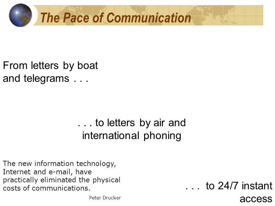The Pace of Communication From letters by boat and telegrams......