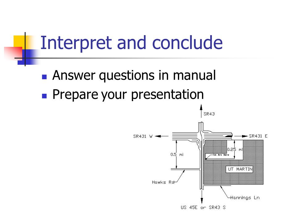 Interpret and conclude Answer questions in manual Prepare your presentation