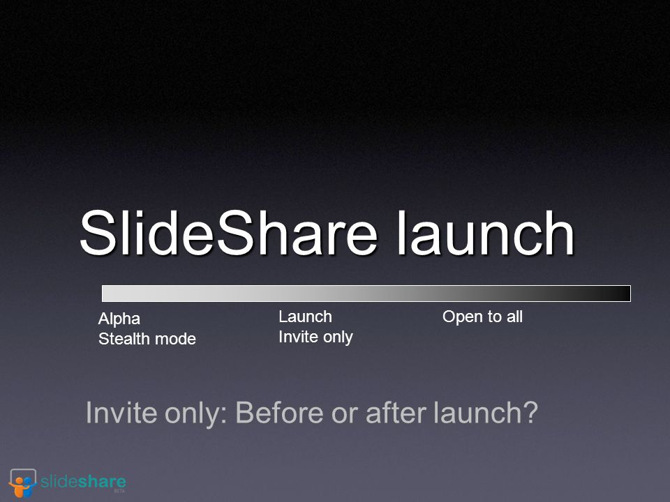 SlideShare launch Invite only: Before or after launch.