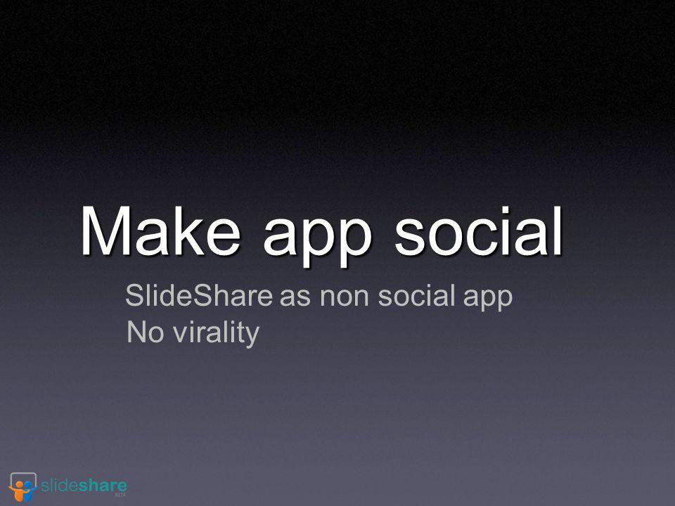 Make app social SlideShare as non social app No virality