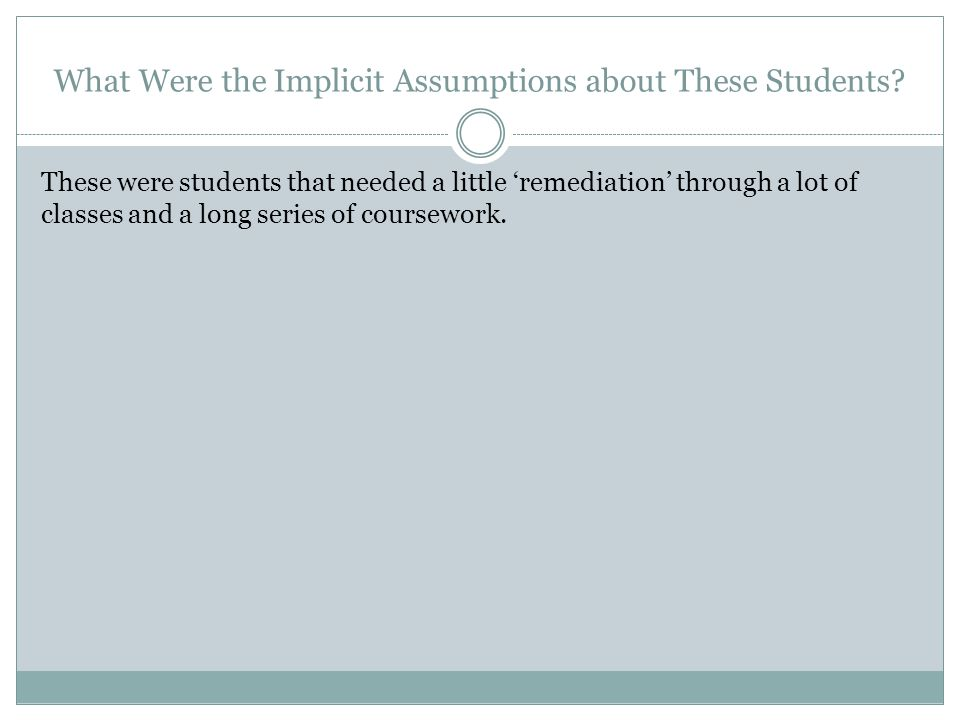 What Were the Implicit Assumptions about These Students.