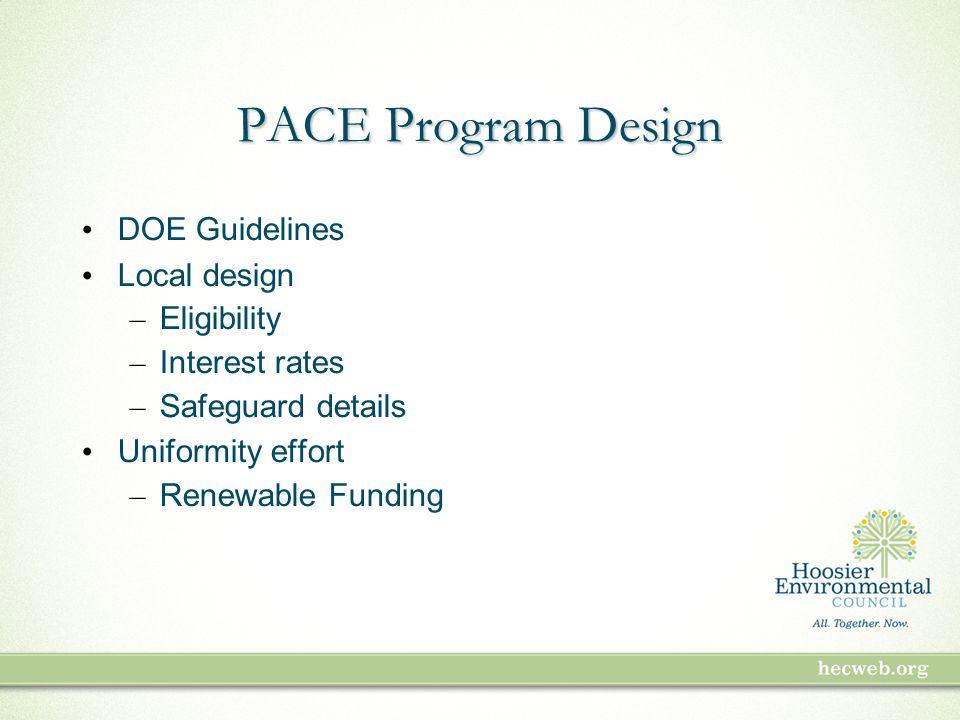 PACE Program Design DOE Guidelines Local design – Eligibility – Interest rates – Safeguard details Uniformity effort – Renewable Funding