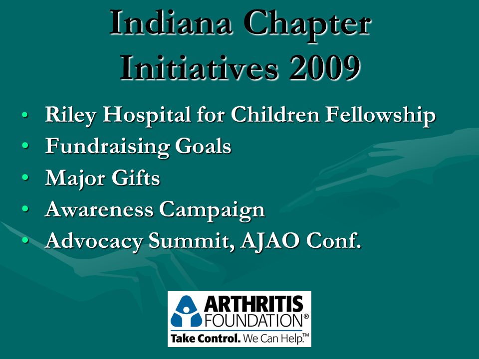 Indiana Chapter Initiatives 2009 Riley Hospital for Children Fellowship Riley Hospital for Children Fellowship Fundraising Goals Fundraising Goals Major Gifts Major Gifts Awareness Campaign Awareness Campaign Advocacy Summit, AJAO Conf.