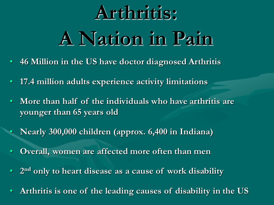 Arthritis: A Nation in Pain 46 Million in the US have doctor diagnosed Arthritis46 Million in the US have doctor diagnosed Arthritis 17.4 million adults experience activity limitations17.4 million adults experience activity limitations More than half of the individuals who have arthritis are younger than 65 years oldMore than half of the individuals who have arthritis are younger than 65 years old Nearly 300,000 children (approx.