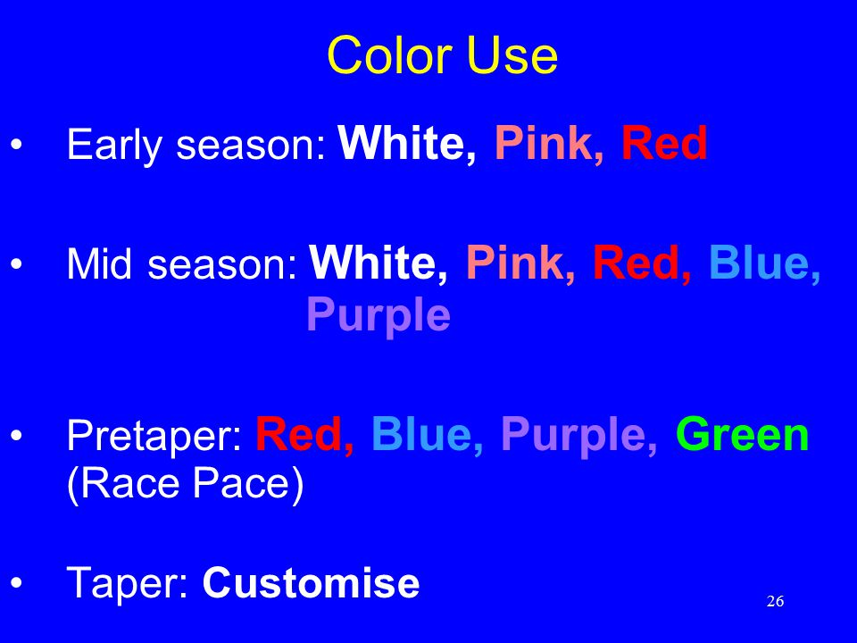 26 Color Use Early season: White, Pink, Red Mid season: White, Pink, Red, Blue, Purple Pretaper: Red, Blue, Purple, Green (Race Pace) Taper: Customise