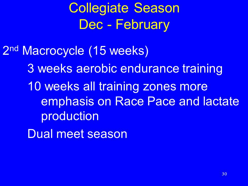 30 Collegiate Season Dec - February 2 nd Macrocycle (15 weeks) 3 weeks aerobic endurance training 10 weeks all training zones more emphasis on Race Pace and lactate production Dual meet season