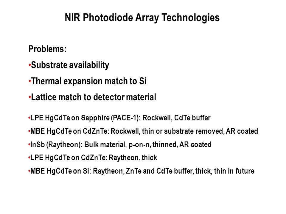 NIR Photodiode Array Technologies LPE HgCdTe on Sapphire (PACE-1): Rockwell, CdTe buffer MBE HgCdTe on CdZnTe: Rockwell, thin or substrate removed, AR
