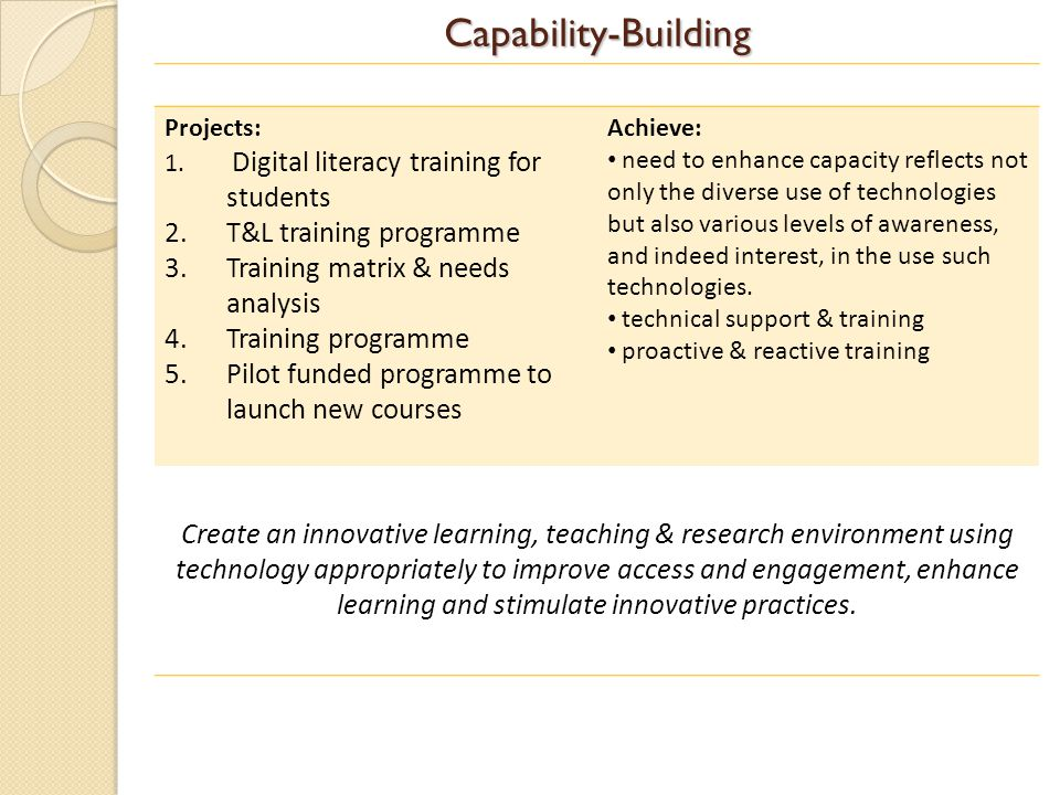 Capability-Building Projects: 1.