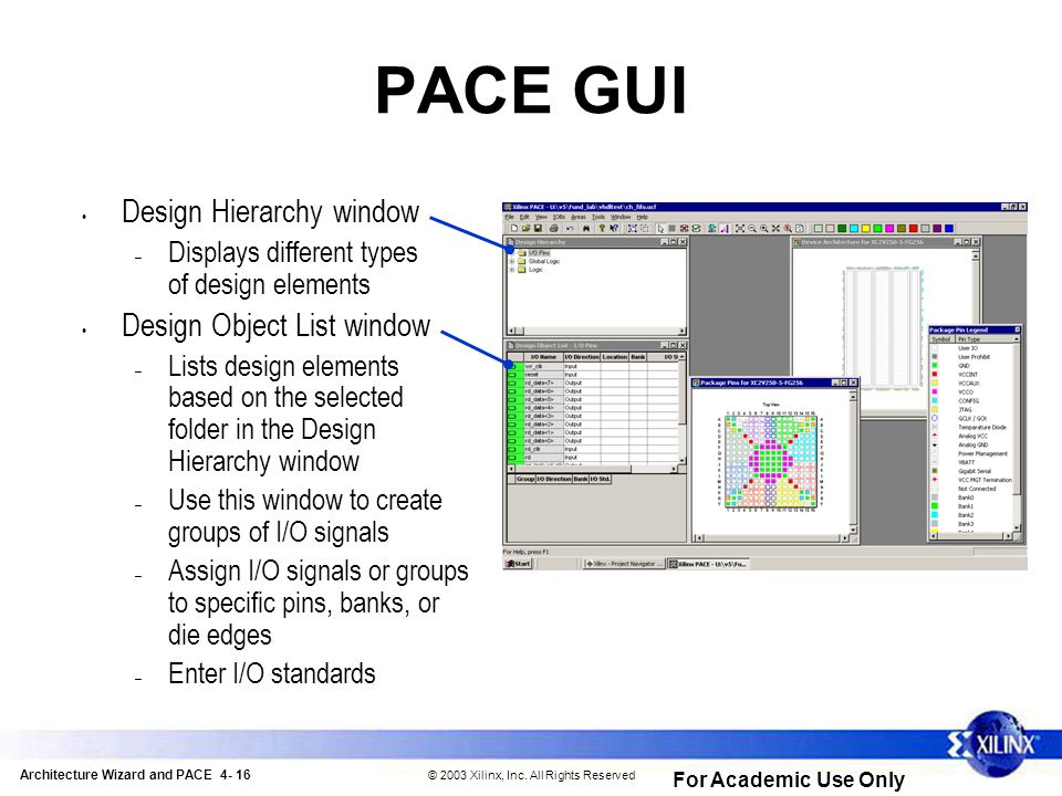 Architecture Wizard and PACE 4- 16 © 2003 Xilinx, Inc.