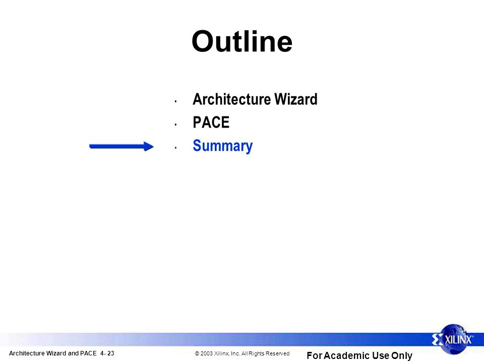 Architecture Wizard and PACE 4- 23 © 2003 Xilinx, Inc.