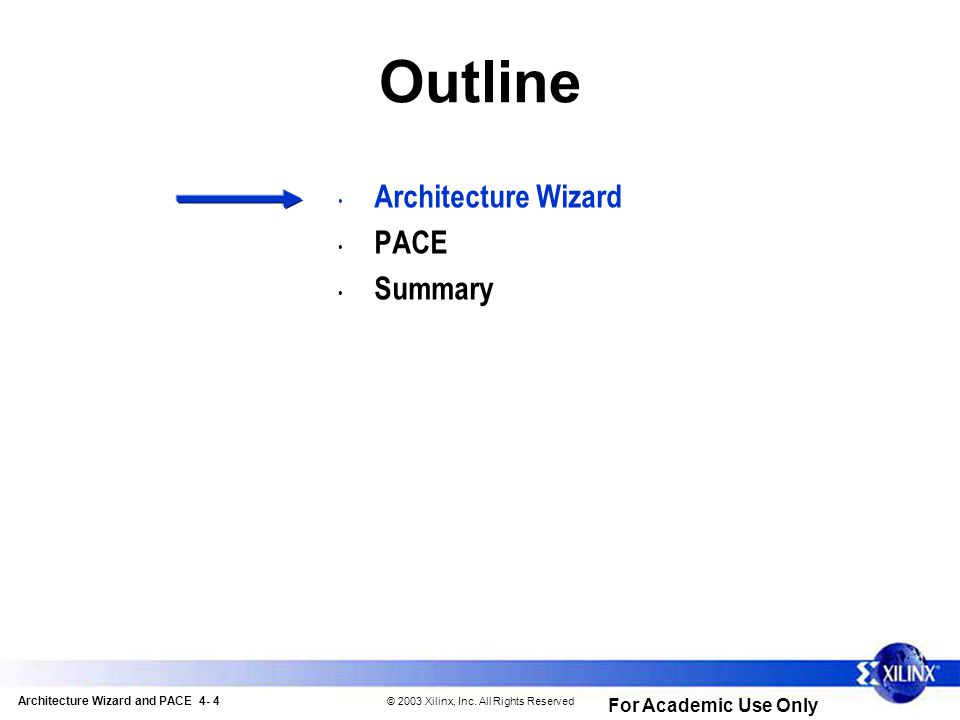 Architecture Wizard and PACE 4- 4 © 2003 Xilinx, Inc.