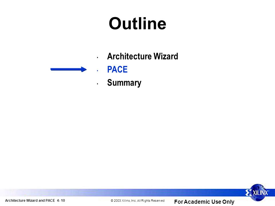 Architecture Wizard and PACE 4- 10 © 2003 Xilinx, Inc.