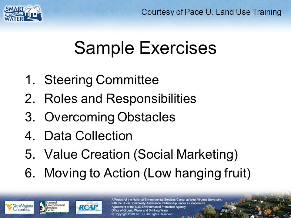 Sample Exercises 1.Steering Committee 2.Roles and Responsibilities 3.Overcoming Obstacles 4.Data Collection 5.Value Creation (Social Marketing) 6.Moving to Action (Low hanging fruit) Courtesy of Pace U.