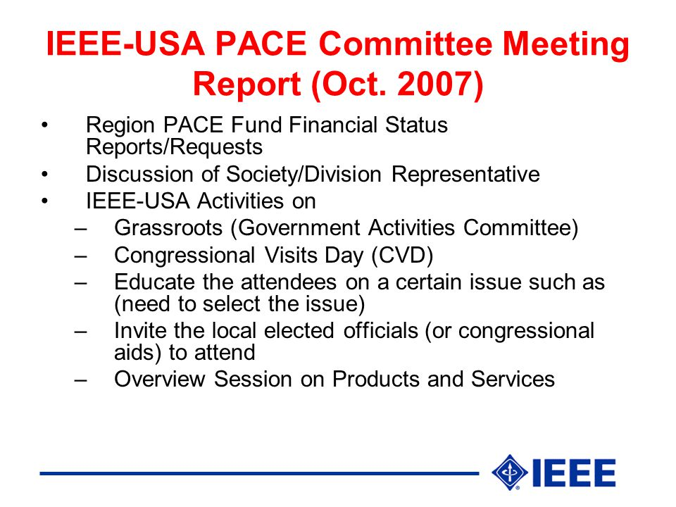 IEEE-USA PACE Committee Meeting Report (Oct.