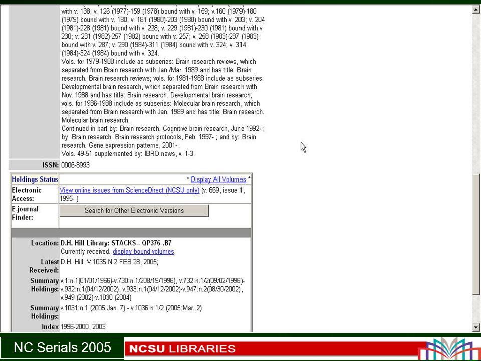 NC Serials 2005