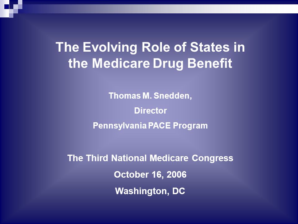 The Evolving Role of States in the Medicare Drug Benefit Thomas M.