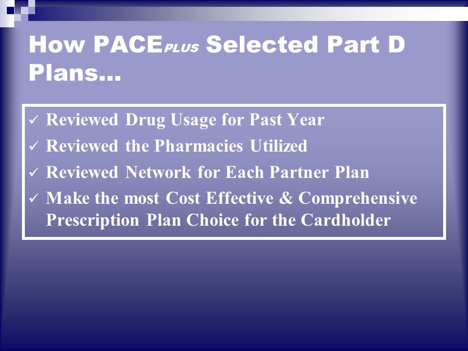 How PACE PLUS Selected Part D Plans… Reviewed Drug Usage for Past Year Reviewed the Pharmacies Utilized Reviewed Network for Each Partner Plan Make the most Cost Effective & Comprehensive Prescription Plan Choice for the Cardholder
