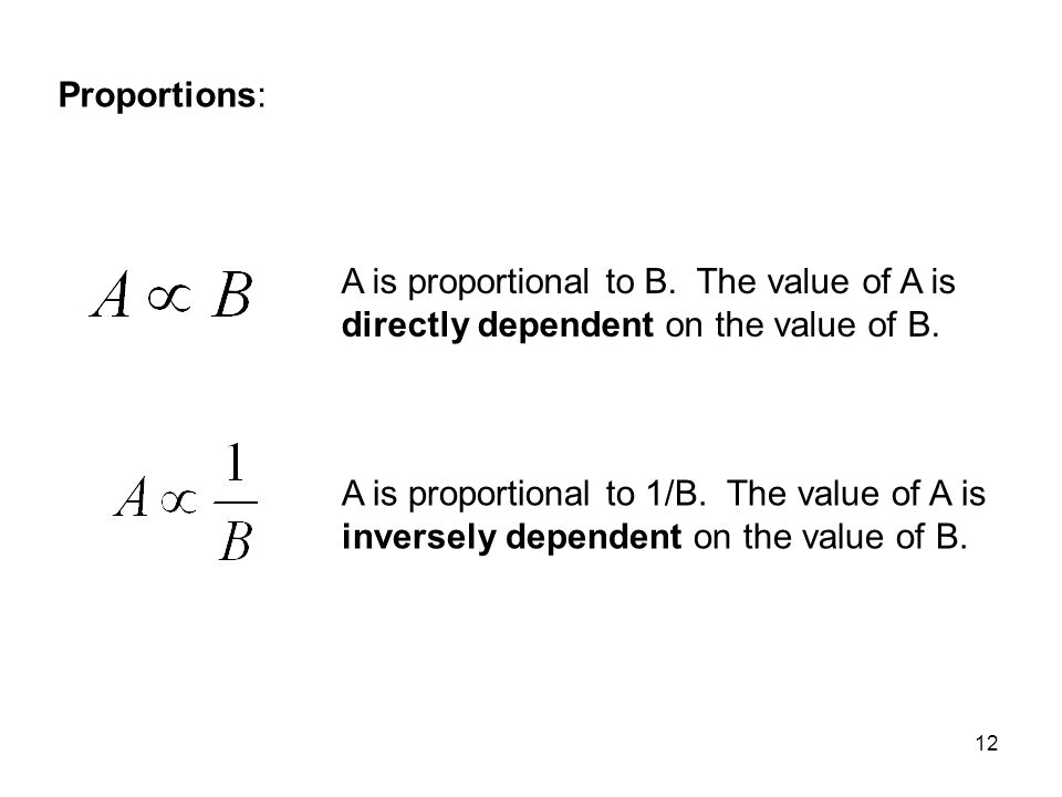 12 Proportions: A is proportional to B. The value of A is directly dependent on the value of B. A is proportional to 1/B. The value of A is inversely