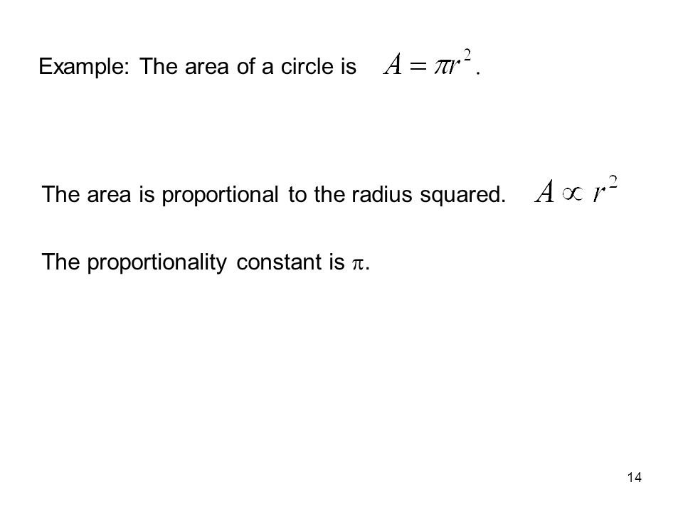 14 Example: The area of a circle is The area is proportional to the radius squared. The proportionality constant is .