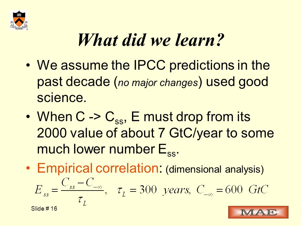 Slide # 16 What did we learn.