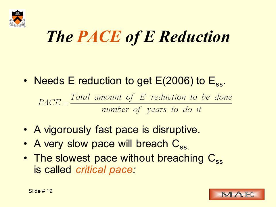 Slide # 19 The PACE of E Reduction Needs E reduction to get E(2006) to E ss.