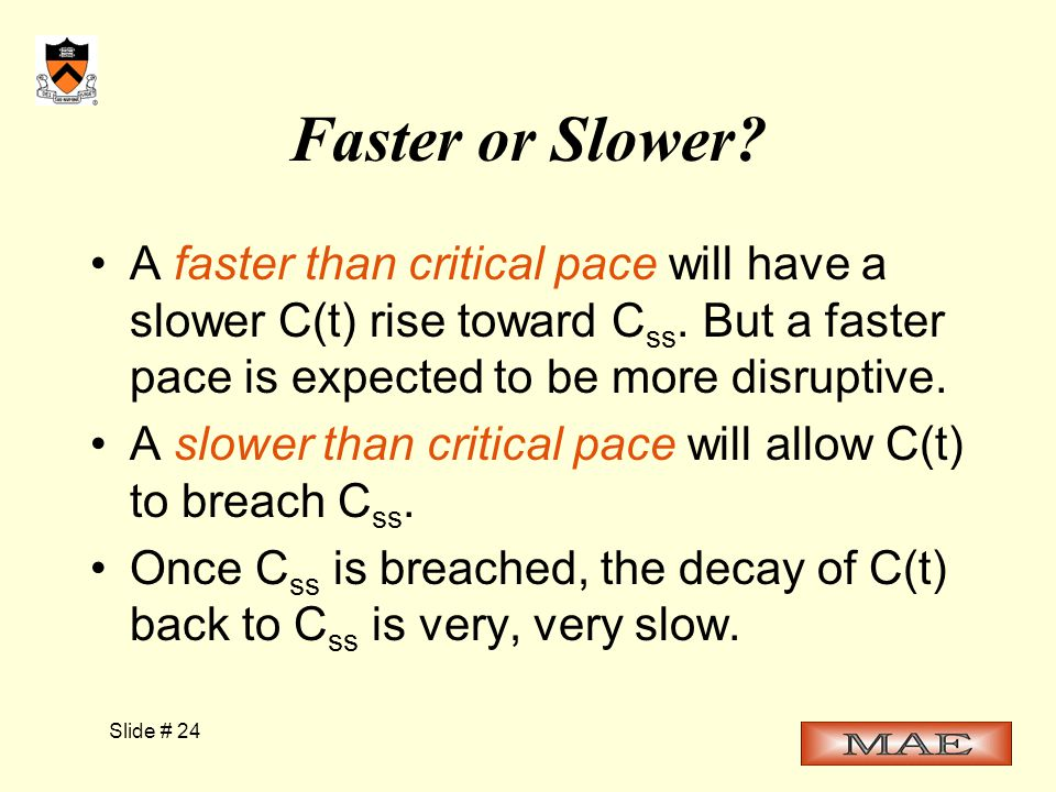 Slide # 24 Faster or Slower. A faster than critical pace will have a slower C(t) rise toward C ss.