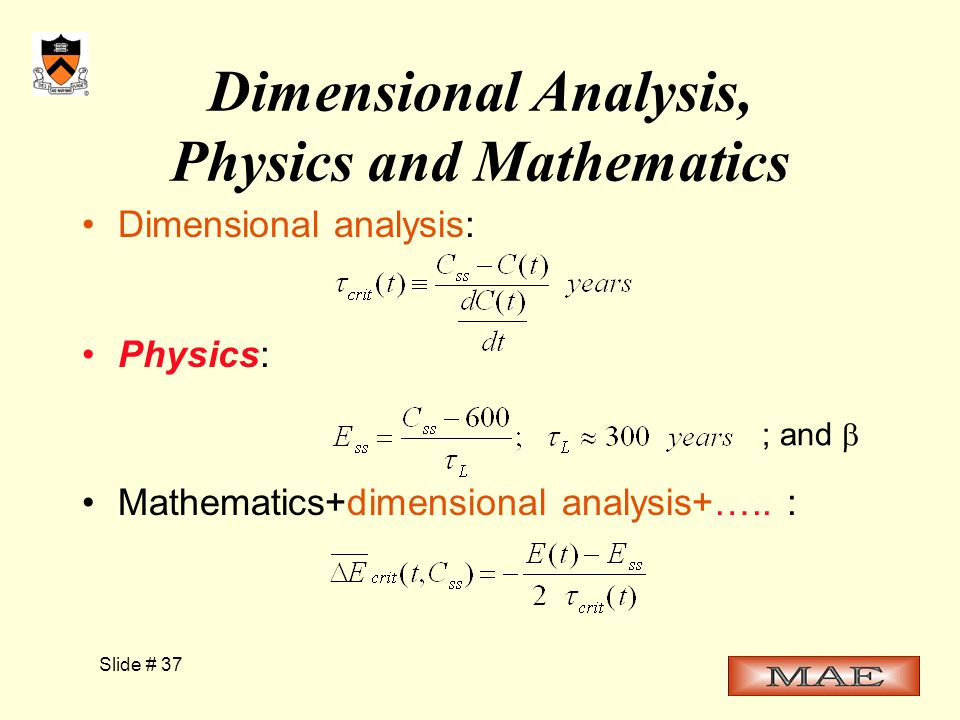 Slide # 37 Dimensional Analysis, Physics and Mathematics Dimensional analysis: Physics: Mathematics+dimensional analysis+…..