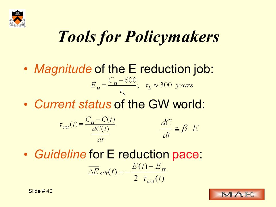 Slide # 40 Tools for Policymakers Magnitude of the E reduction job: Current status of the GW world: Guideline for E reduction pace: