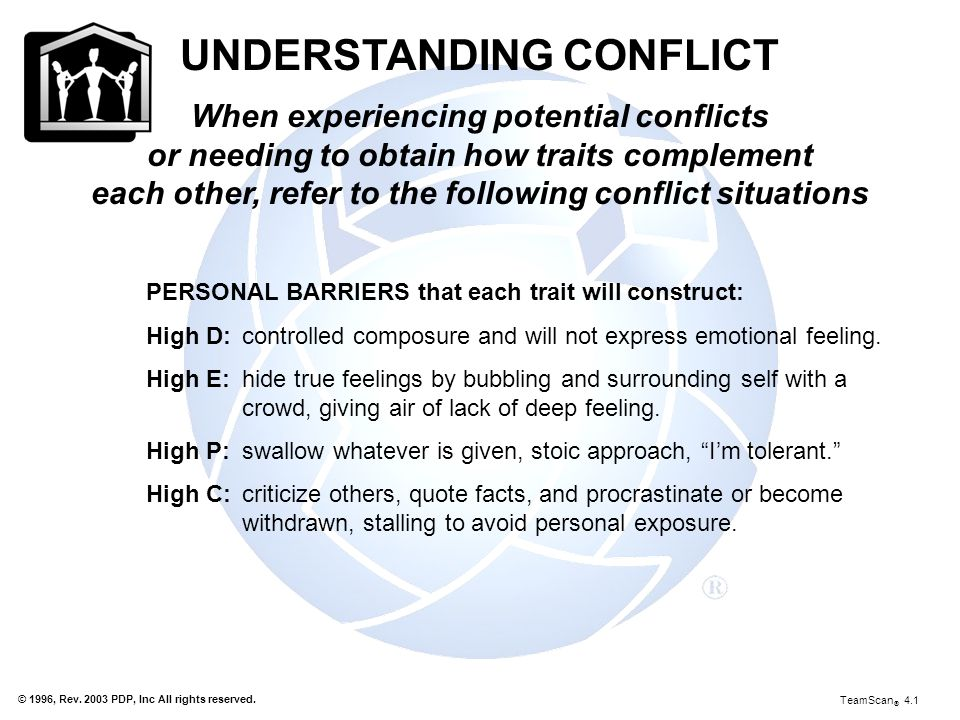 © 1996, Rev. 2003 PDP, Inc All rights reserved. UNDERSTANDING CONFLICT When experiencing potential conflicts or needing to obtain how traits complemen